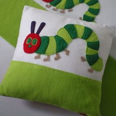 Removable cover with fleece caterpillar applique , includes a 16 x 16 inch cushion pad. Matching fleece blankets pe bags and fabric baskets also available. Baby Crafts, Felt Crafts, Applique Designs, Quilting Designs, Diy Pillows, Cushions, Sewing Crafts, Sewing Projects, Diy Projects