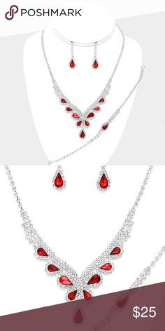 "3 Piece Crystal Jewelry Set • Necklace Size : 16"" + 4"" L • Decor Size : 1.25"" L • Bracelet Size : 0.3"" H, 7"" + 2"" L • Earrings Size : 1.25"" L • 3-Pieces Jewelry Set • 3-PCS Crystal Rhinestone Teardrop Necklace Jewelry Set Jewelry Necklaces"