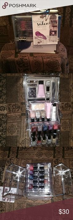 The Color Workshop salon nail case New accordian style nail case includes 13 nail polishes, cuticle removing cream, cuticle massage cream, nail clippers, nail file, nail art, hand lotion toe sponge for nail painting and 2 clear top coats. the color workshop Makeup