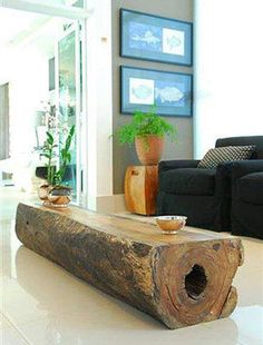 Wooden table out of old tree stump