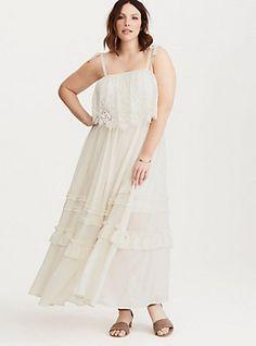 Plus Size Torrid Insider Ruffled Chiffon Lace Maxi Dress, BIRCH