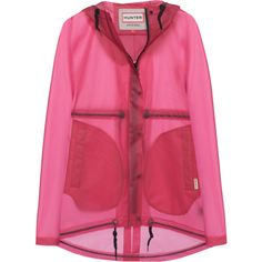 HUNTER Original Clear Smock Pink // Transparent rain coat (290 CAD) ❤ liked on Polyvore featuring outerwear, coats, pink raincoat, rain coat, red raincoat, transparent raincoat and transparent rain coat
