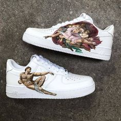 Nike Air Force 1 - customized / creation of adam Nike Air Force, Painted Clothes, Painted Shoes, Custom Sneakers, Custom Shoes, Custom Af1, Sneakers Vans, Air Force Sneakers, Aesthetic Shoes