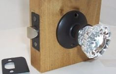 """A very affordable Fluted Crystal Glass & Oil Rubbed Bronze Complete Passage Door Knob Sets for Modern Doors+includes Our Original Wood Adapters to install in modern pre-drilled doors or replacement set for older doors. by Avery. $39.95. A perfect duplicate if the early 1900s Depression Crystal Passage knobs, we have added a hand made wood adapters to allow you to fit in per-drilled doors with standard 2-3/8, see attachment,.  2-3/4"""" back set available on request. This s..."""