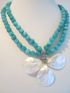 Aqua Agate double strand necklace with unique white shell