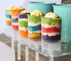 Rainbow cake push pops with cream cheese frosting Rainbow Cake Pops, Cake Push Pops, Fancy Desserts, Cupcake Cakes, Cupcakes, Macaroons, Sweet Tooth, Sweet Treats, Cheesecake