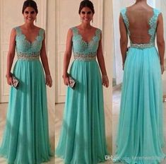 Wholesale Bridesmaid Dress - Buy BH New 2014 Sexy A Line Chiffon With Lace Beaed Backless Party Dress Long V-Neck Floor Length Mint Green Br... Prom Dresses Blue, Pretty Dresses, Beautiful Dresses, Formal Dresses, Wedding Dresses, Gorgeous Dress, Dresses 2014, Dress Prom, Dress Lace