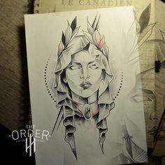 The Order Portfolio - The Order Custom Tattoos Tattoo Sketches, Tattoo Drawings, Art Drawings, Skull Girl Tattoo, Girl Tattoos, Russian Criminal Tattoo, Face Tattoos For Women, Free Tattoo Designs, Latest Tattoos