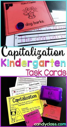 Capitalization Task Cards with Anchor Chart & 2 Games for Kindergarten Centers Kindergarten Anchor Charts, Kindergarten Centers, Kindergarten Activities, Literacy Centers, Preschool, Grammar Activities, Writing Activities, Anchor Activities, Capitalization Rules