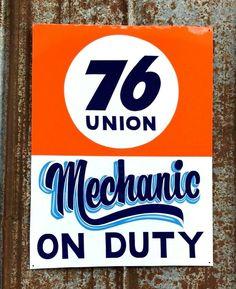 Vintage UNION 76 Mechanic on Duty Gas Oil Service Station Shop Hand Painted SIGN #SignByPierce Vintage Signs For Sale, Oil Service, Hand Painted Signs, Metallic Paint, Metal Signs, Hand Lettering, Shop, Ebay, Metal Panels