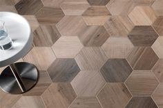 Porcelain Hexagon | 8 inch, Wood Look Tile  |  Nut