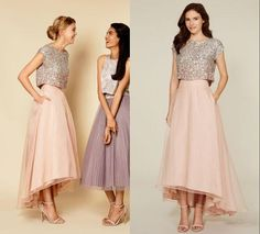 Unique Two Pieces Hi-Lo Bridesmaid Dresses 2016 Sparkling Silver Sequins Scoop Top Ankle Length Pink Chiffon A Line Prom Party Gowns Online with $82.42/Piece on Dmronline's Store | DHgate.com