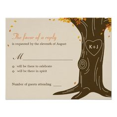 Oak Tree Fall Wedding RSVP / Response Card Custom Announcements
