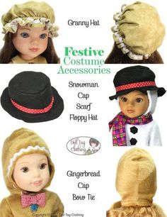 Festive Costume Accessories Pattern for 14 to 14.5 Inch Dolls. Pattern by Doll Tag Clothing from Pixie Faire.