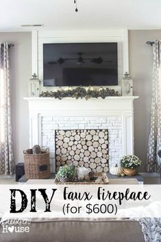 A DIY tutorial about how to build a realistic looking oversized faux fireplace using a thrifted mantel. #diytutorial #fauxfireplace #fireplace #fireplacemakeover #mantel