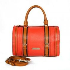 Special Price: $258.00 - Burberry Leather Bowling Bag Orange