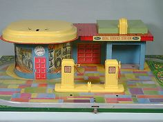 Vintage Ideal Tin Litho Service Station Deco Gas Metal Toy~~