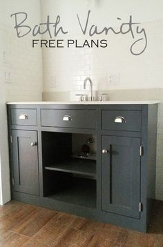 Ana White Build a Simple Gray Bath Vanity Free and Easy DIY Project and Furniture Plans Light Fixtures Bathroom Vanity, Diy Bathroom Vanity, Bath Vanities, Bathroom Storage, Pallet Bathroom, Bathroom Cabinetry, Light Bathroom, Vanity Decor, Vanity Ideas