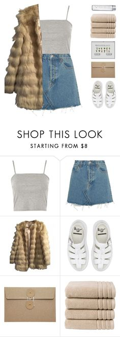 """""""girl gang glam"""" by amazing-abby ❤ liked on Polyvore featuring Topshop, RE/DONE, ASOS, Dr. Martens and Christy"""