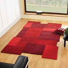 Abstract Collage Rugs In Red Are Handmade India With A Thick Soft Wool Pile This Contemporary Collection Has Modern Twist Cut Out Shapes And