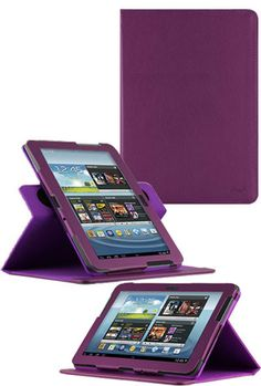 HHI 360 Dual-View Multi Angle Folio Case Cover For Samsung Galaxy Note 10.1 Tablet - Purple