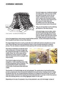 'CORNISH HEDGES' DIY information about building a 'Cornish hedge' (ie a Cornish stone wall). 'A Cornish hedge has two sides, which are built by placing huge stone blocks into the earth and packing them in with sub-soil. Smaller rocks are used to build the hedge high until it reaches a level where the jagged larger rocks become neatly flat filled surfaces. A slice of the topsoil is then taken from the ground and stuck on top of the structure.'     ✫ღ⊰n Scilly Isles, Deer Fence, Self Build Houses, Hay Barn, Stone Blocks, Devon And Cornwall, Top Soil, Timber Frame Homes, Garden Buildings