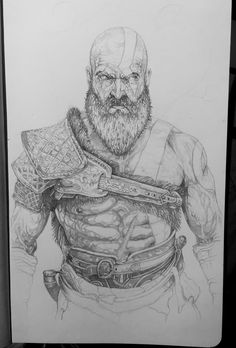 Kratos from the upcoming God of War. Pencil. A5.
