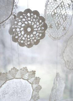 I prefer them white and crocheted without fabric centres. (Tiny dusting of sparkle may be allowed.)