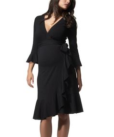 Caviar Black Ruffle Maternity Wrap Dress by Isabella Oliver