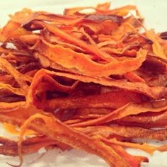 Carrot chips. Healthy side dish. Takes 20 minutes to bake and taste great!