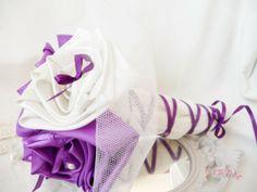 wedding bouquet ivory and purple bouquet de mariée original ivoire violet petit noeud personnalisé cereza deco