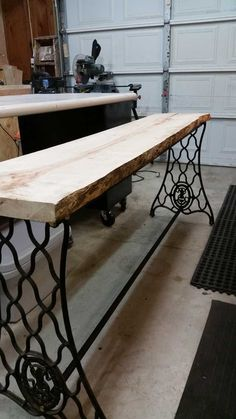 New Photos modern sewing table Popular Man Combines Heirloom Sewing Table With Giant Slab Of Wood To Create Gorgeous Table Folding Sewing Table, Old Sewing Tables, Singer Sewing Tables, Modern Sewing Machines, Antique Sewing Machines, Make A Table, Diy Table, Furniture Sale, Home Decor Furniture