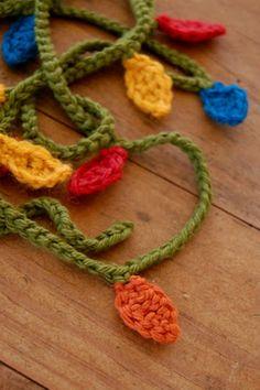 Crocheted Christmas light garland.