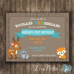 DIGITAL - Woodland ONEderland First Birthday Party Invitation by LoveNotesbyjp on Etsy https://www.etsy.com/listing/222972933/digital-woodland-onederland-first