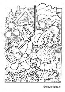 Kleurplaat koningsdag voor kleuters 3, kleuteridee.nl , The kigs day coloring .
