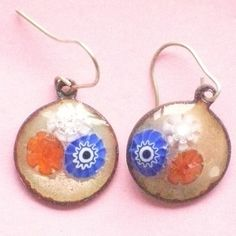 millefiore earrings - red white and blue £12.50
