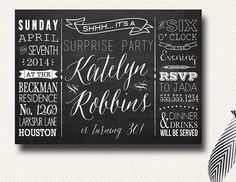 Chalkboard Menu Poster Style Surprise Party Invitation on Etsy, $16.00