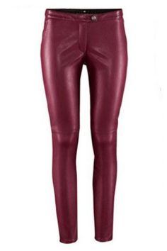 ROMWE | ROMWE Faux Leather Skinny Burgundy Pants, The Latest Street Fashion