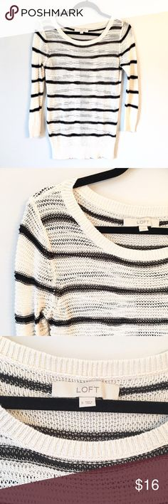 Ann Taylor Striped Sweater This Ann Taylor Loft sweater has an open knit weave and classic black and white (off white) pattern. It's in really good condition. Reasonable offers welcome and don't forget to bundle for a discount.  Xoxo-J Ann Taylor Sweaters Crew & Scoop Necks