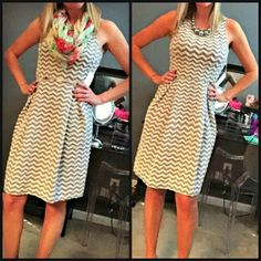 Love the cute chevron pattern of this dress! Again, I think that the style is totally my style with the defined waist, good hemline. I like the pleat details on the front. Perhaps a tad too high on the neckline for my usual taste but perfect for work and wouldn't have to worry about my cleavage showing during a meeting.