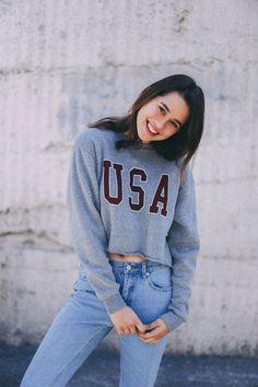 Brandy ♥ Melville   Nancy USA Sweatshirt - Graphics