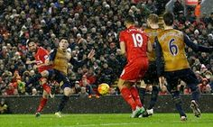 Joe Allen, left, scores Liverpool's late equaliser against Arsenal