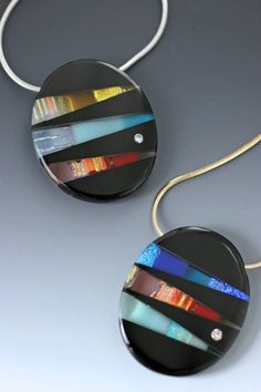 Sierra Layered dichroic and colored art glass. Fitted, fused, and hand-polished. Fused Glass Ornaments, Fused Glass Jewelry, Fused Glass Art, Dichroic Glass, Polymer Clay Jewelry, Glass Pendants, Pendant Jewelry, Jewelry Art, Jewelry Design