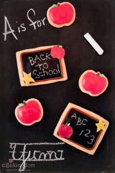 Back-to-School-Edible-Chalkboard-Cookies   @Annie Edwards - could you help me do this fondant???  Help! :-)