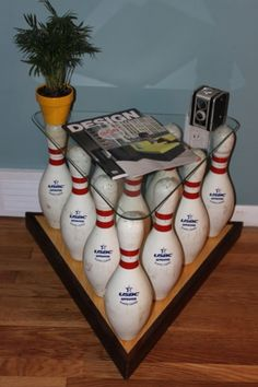 bowling pins turned table