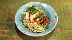 Slaw Salad with Grilled Chicken and Cilantro Avocado Dressing Recipe | The Chew - ABC.com