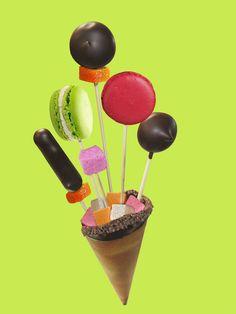 """Le Bouquet """"Pop Chocolate"""" - Christophe Roussel   Une gourmandise à picorer garnie de praliné et de guimauve au chocolat où sont piquées des guimauves enrobées de chocolat, des biscuits fourrés à la ganache et à la pâte de fruit, et des bonbons de chocolat…"""