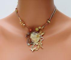 freeform beaded bracelet tutorial | Cream and Ivory Freeform Peyote Chocker/Necklace, Antique Treasure