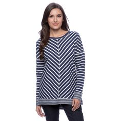 c3bc6093ae4f5 Cable  amp  Gauge Women s Navy and Ivory Wedge Long-sleeve Top - Overstock™