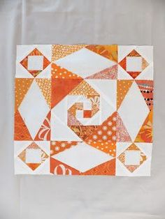 Sew Block Quilt NeedledMom - nice combo of Storm at Sea and Snails Trail. And a scrappy block to boot! Quilt Block Patterns, Pattern Blocks, Quilt Blocks, Quilting Projects, Quilting Designs, Storm At Sea Quilt, Ocean Quilt, Orange Quilt, Patch Aplique